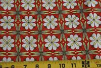 By 1/2 Yd, Green & White Floral on Red Quilt Cotton, Lecien/Fielke/Japan, N3045