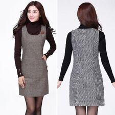 Women Sleeveless Wool-Like Long Vest Dress Houndstooth Strappy Sundress Grey New