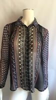 Womens Free People Long Sleeve Button Up Shirt Blouse Top Sheer Boho Tie Back XS