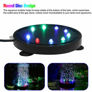 Multi Color Aquarium Underwater LED Light Air Bubble Stone  For Fish Tank Round