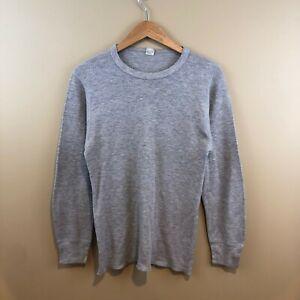 Vintage Hanes Thermal Waffle Shirt Mens XL Grey 90s Long Sleeve