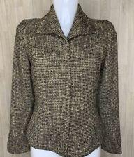 MAX MARA • Brown Textured Wool Blend High Collared Blazer Jacket • Size 10