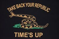 vtg Take Back Your Republic Time's Up XXL t shirt rattlesnake patriot USA made