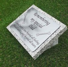 Personalised Grey Granite Engraved Memorial Grave Plaque Stone Dad Any Wording