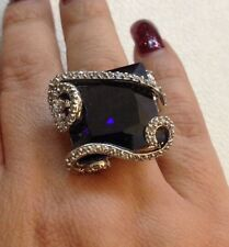 Sterling Silver & Cubic Zirconia Flower Ring Size 7 Amethyst Color