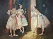 Dipinto Olio su Tela - 90x120 cm - Dietro le Quinte - Quadro Ballerine Scena