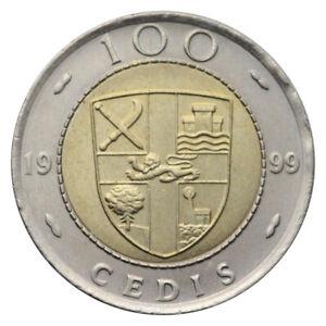 GHANA 100 CEDIS KM 32 BIMETAL BI-METALLIC KEY DATE 1999 UNC