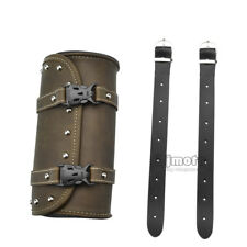 Motorcycle PU Leather Saddlebags Barrel Luggage Roll Tool Pouch Storage Vintage