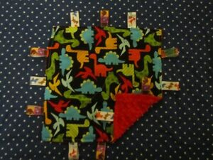 Black with Multicolored Dinosaur Cotton/Minky Tag Ribbon Security Blanket