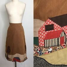 Vintage 70s Patchwork Quilted Wrap Skirt Size Extra Small