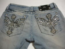 MISS ME Womens Rhinestone Signature Rise Boot Cut Distressed Bling Jeans Size 27