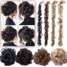 Messy Bun Wrap 0 Clip in Glue Hair Extension Curly Wavy Ponytail Chignon Wedding