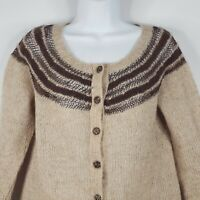 Free People Brown Beige 3/4 Sleeve Open Knit Wool Blend Cardigan Sweater Sz L