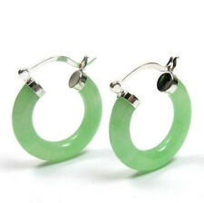 Fashion Natural Light Green Jade Silver Snap Closure Hoop Earrings