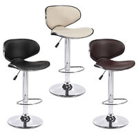 Set of 2 Bar Stools Counter Height Adjustable Leather Swivel Dining Chair
