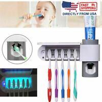 UV Light Sterilizer Toothbrush Holder Cleaner+Automatic Toothpaste Dispenser USA