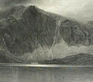 View of Snowdonia Llyn Idwal Glyderau mountains engraved print c1875 original