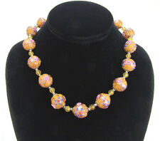 """VINTAGE VENETIAN 17"""" BIRTHDAY CAKE GLASS BEAD NECKLACE MADE IN ITALY SCREW CLASP"""