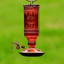 Hummingbird Feeder Dark Red Glass Antique Bottle Nectar Bird Wildlife Outdoor
