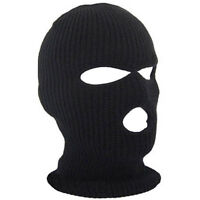 Black Knit 3 Hole Ski Mask BALACLAVA Hat Face Shield Beanie Cap Winter Snow Warm