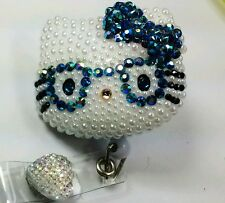 Glasses Blue, Hello Kitty, belt clip, ID, badge holder, RhinestoneKay USA Seller