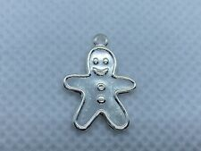 Plated Brass Gingerbread Boy Charm Stampings A Package of 50 Sterling Silver