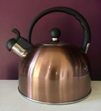 Copper Coloured Whistling Stove Top Kettle Induction Hob Gas 2 Litre Camping