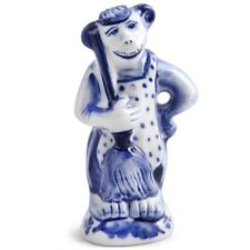 White Blue Porcelain Gzhel Monkey Figurine 3.5'' Hand Painted in Russia