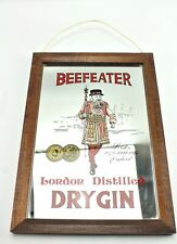 Vintage Beefeater London Distilled Dry Gin Beer Mirror Framed Hanging Sign