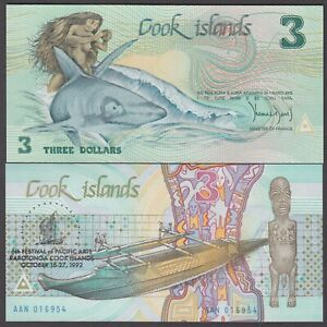 COOK ISLANDS  P.6  3 DOLLARS 1992 COMMEMORATIVE PFX AAN  UNC  LOW SHIPPING