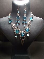 Peruvian Alpaca Silver Necklace and Earring Set~Turquoise~Glass~PN34~uk seller