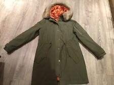 Khaki Parka With Faux Fur Trimmed Hood & Removable Lining - Size 12/14 - New