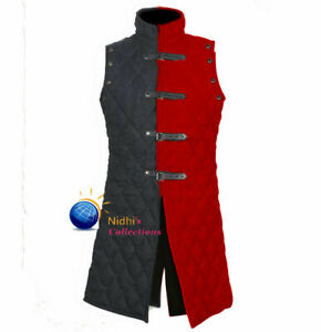Medieval Gambeson Vest Costume Thick Padded Sleeves Less Jacket
