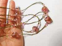 Pink Gold Crystal Wedding Cake Art Glass Beaded Necklace Vintage