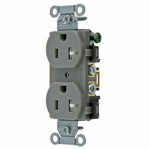 Hubbell Gray Commercial Tamper Resistant Receptacle Outlet 20A BR20GYTR
