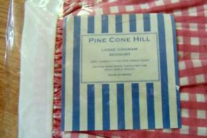 Pine Cone HIll Pink Gingham Large Checks Twin Bedskirt 200 Thread Cotton New