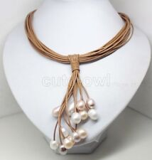 Fashion Jewelry White  Pearl leather Beauty magnet Necklace AAA 22-24""