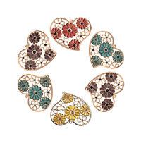 2pcs Iron Filigree Large Heart Charms Hollow Enamel Flower Lt.Gold Pendants 54mm