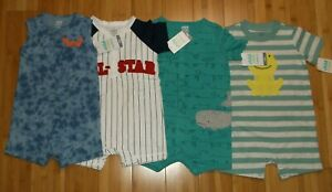 new LOT of 4 one-piece outfits BOY 12 M months summer clothes