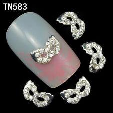 2 St. Nagelschmuck Deko Nail Art Strass  Maske Kristall Steine silber TN 583