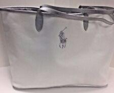 Ralph Lauren White Big Pony Canvas Large Tote Gym Bag Weekender Travel Bag NEW*