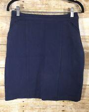 Boden Navy Blue Lined Heavy Cotton Pencil Skirt Sz 8L Womens Tall Career