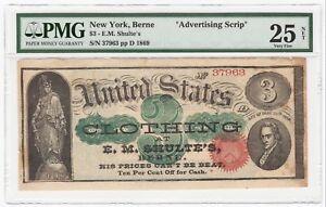 1869 Berne, New York NY E.M. Shulte's $3 Advertising Scrip Note - PMG VF 25