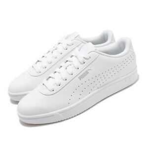 Puma Court Pure White Grey Silver Men Unisex Casual Shoes Sneakers 374766-01