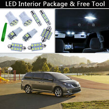 11PCS White LED Interior Car Lights Package kit Fit 2011-2014 Toyota Sienna J1