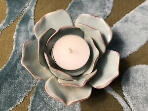 Ceramic Tea Light Candle Holder Lotus Flower Pale Green Marais EUC