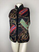 Ralph Lauren Reversible Equestrian Vest Women's Medium Black Multi Puffer Pocket
