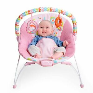 Bright Starts Vibrating Bouncer Seat with Toy Bar - Pink Fairytale Unicorn NEW