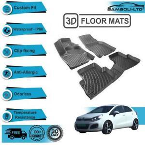 3D Molded Interior Car Floor Mat for Kia Rio 2011-2016(Black)