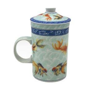 Koi Fish Mug Tea Infuser 3 Piece Set Porcelain Strainer Lid Coffee Cup 10 Ounce